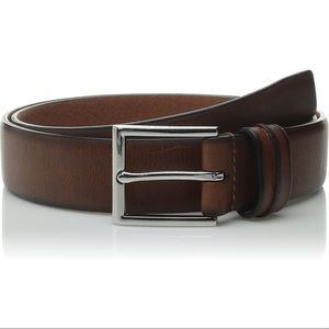 COLE HAAN Chocolate Leather Feather Edge 32mm Belt